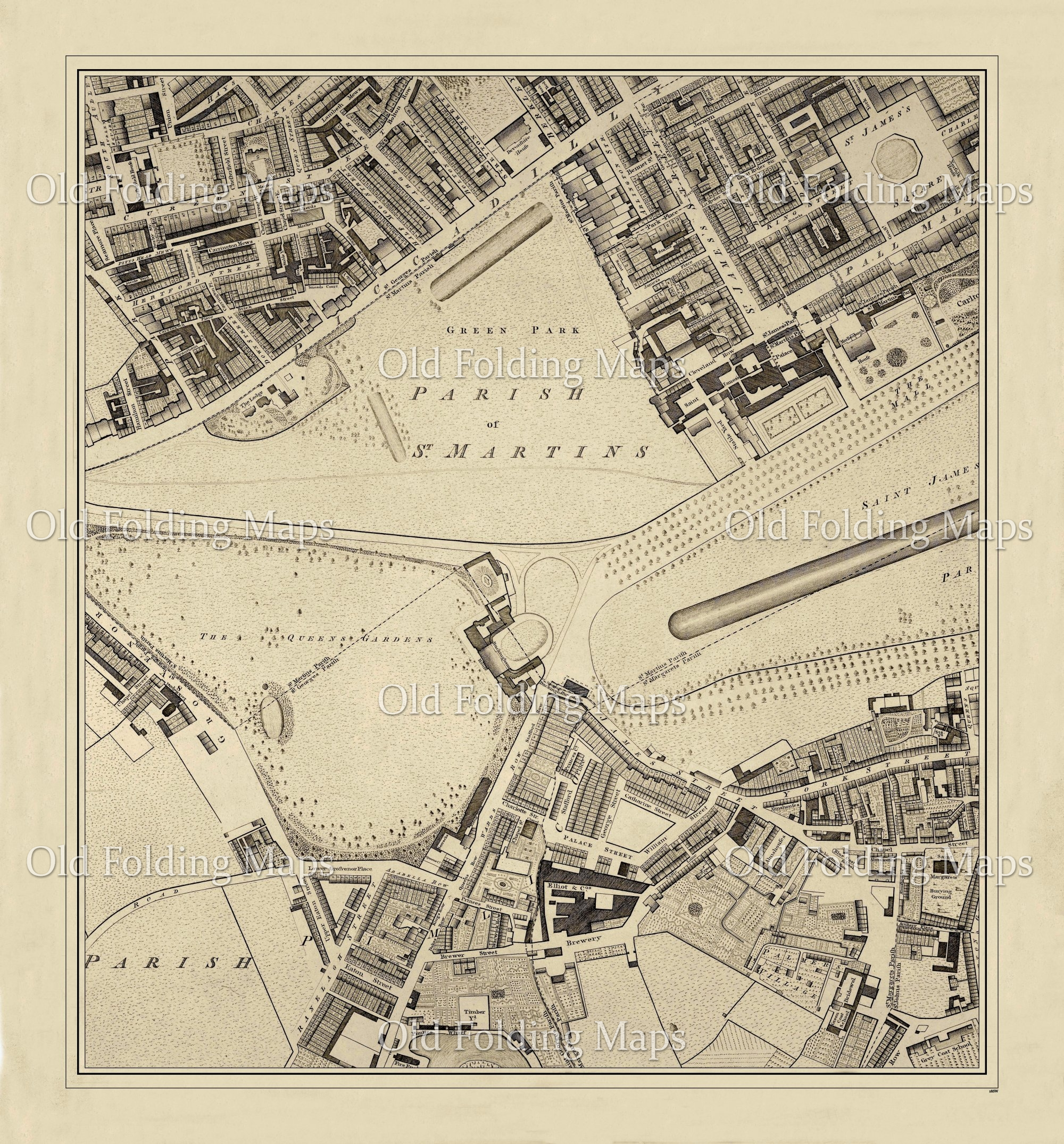 The Mall London Map.Old London Map Piccadilly Pall Mall Pimlico Grosvenor Circa 1799
