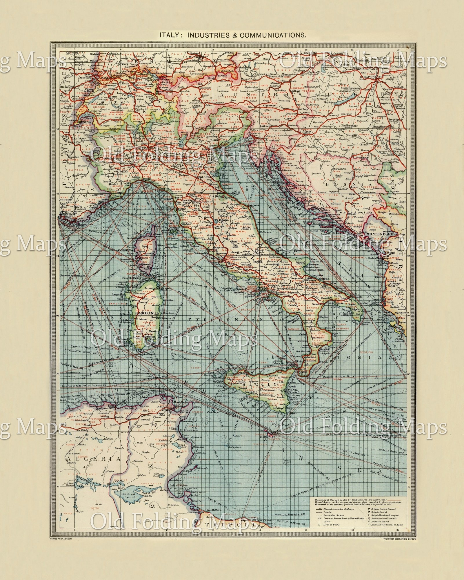 Old Map of Italy Industries and Communications circa 1900