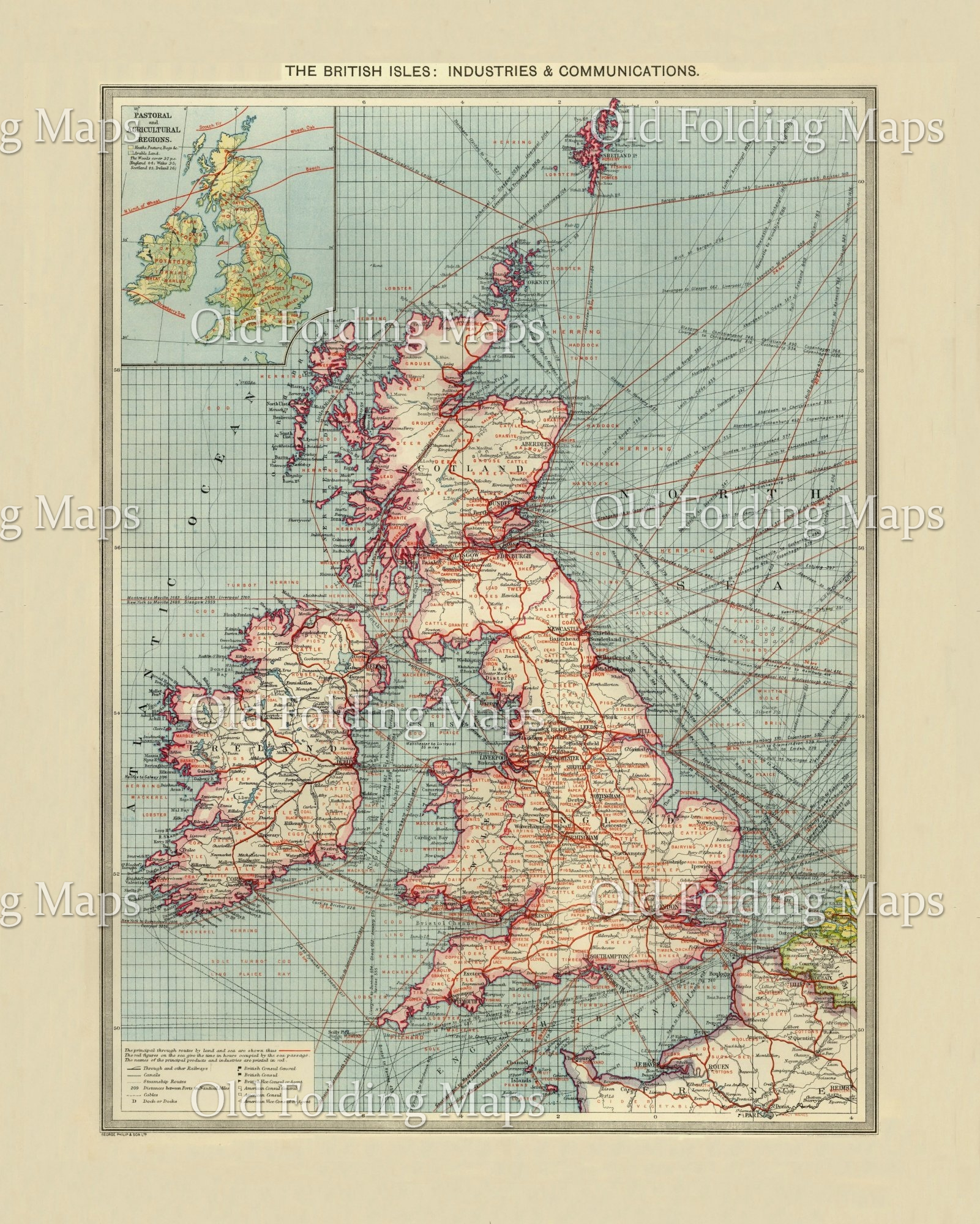 Map Of Uk 1900.Old Map Of British Isles Industries And Communications Circa 1900