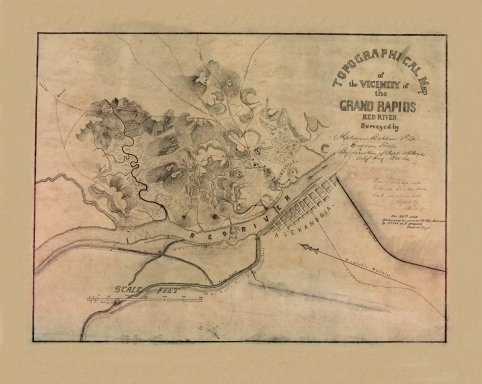 Old Map of the Vicinity of the Grand Rapids Red River circa 1864