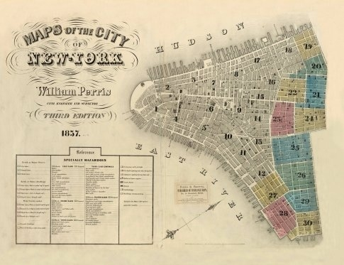 Map Of Old New York.Old Map Of The City Of New York Circa 1857