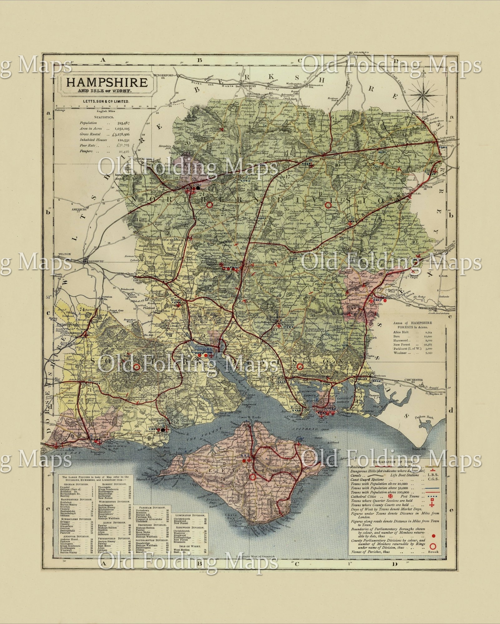 Map Of Uk Hampshire.Antique County Map Of Hampshire Circa 1884
