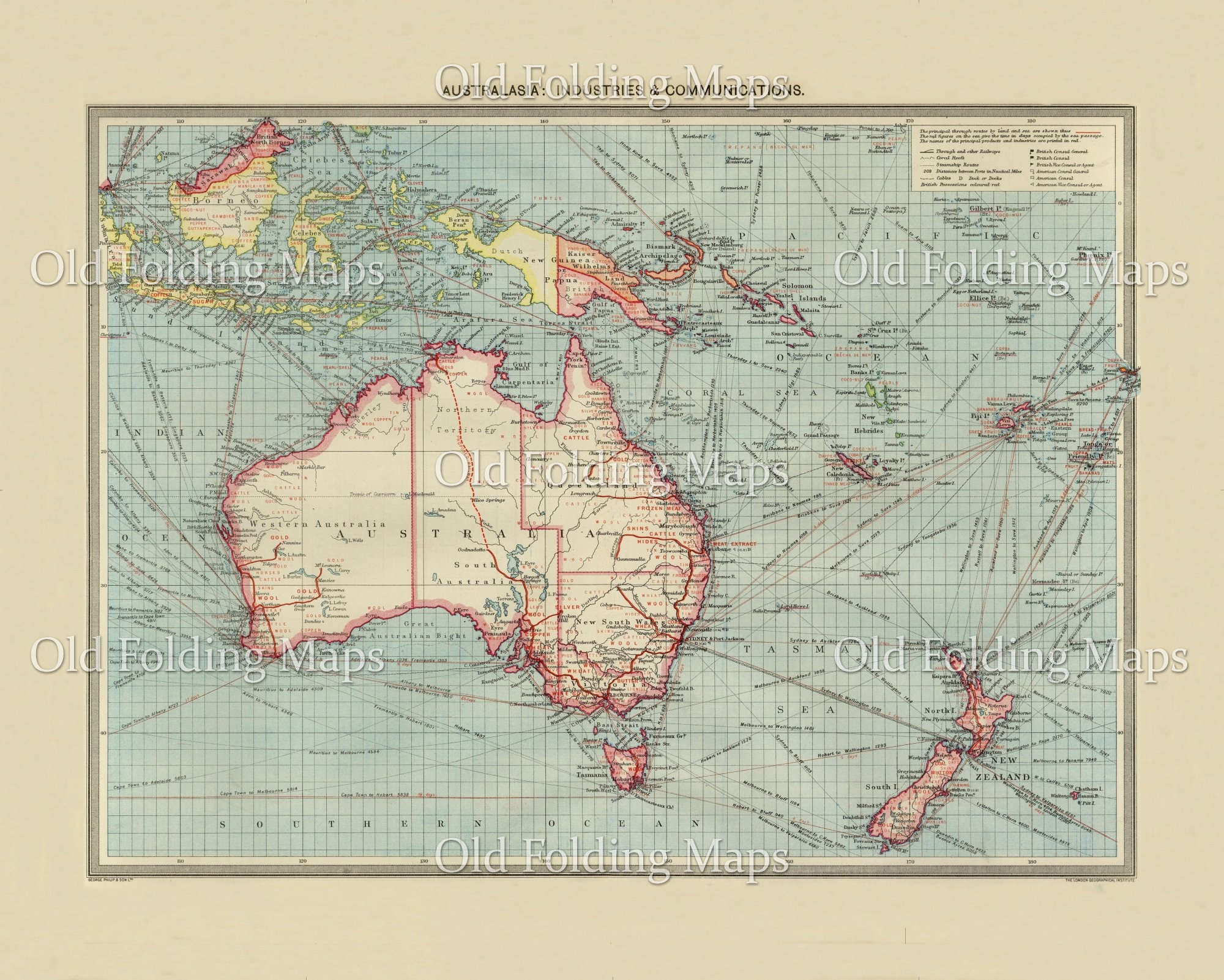 Australia Map 1900.Old Map Of Australia Industry And Communications Circa 1900