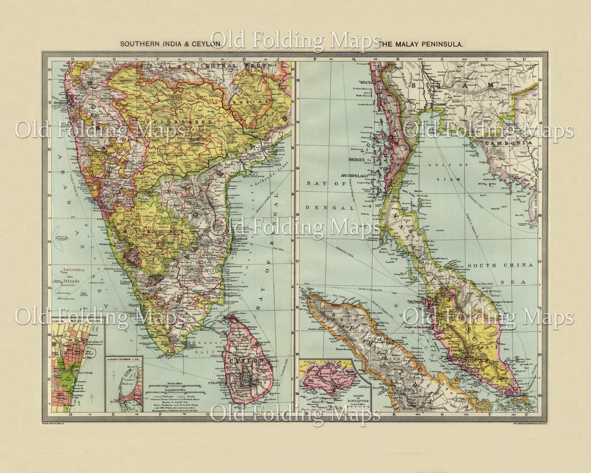 Old Map of Southern India & Ceylon circa 1900