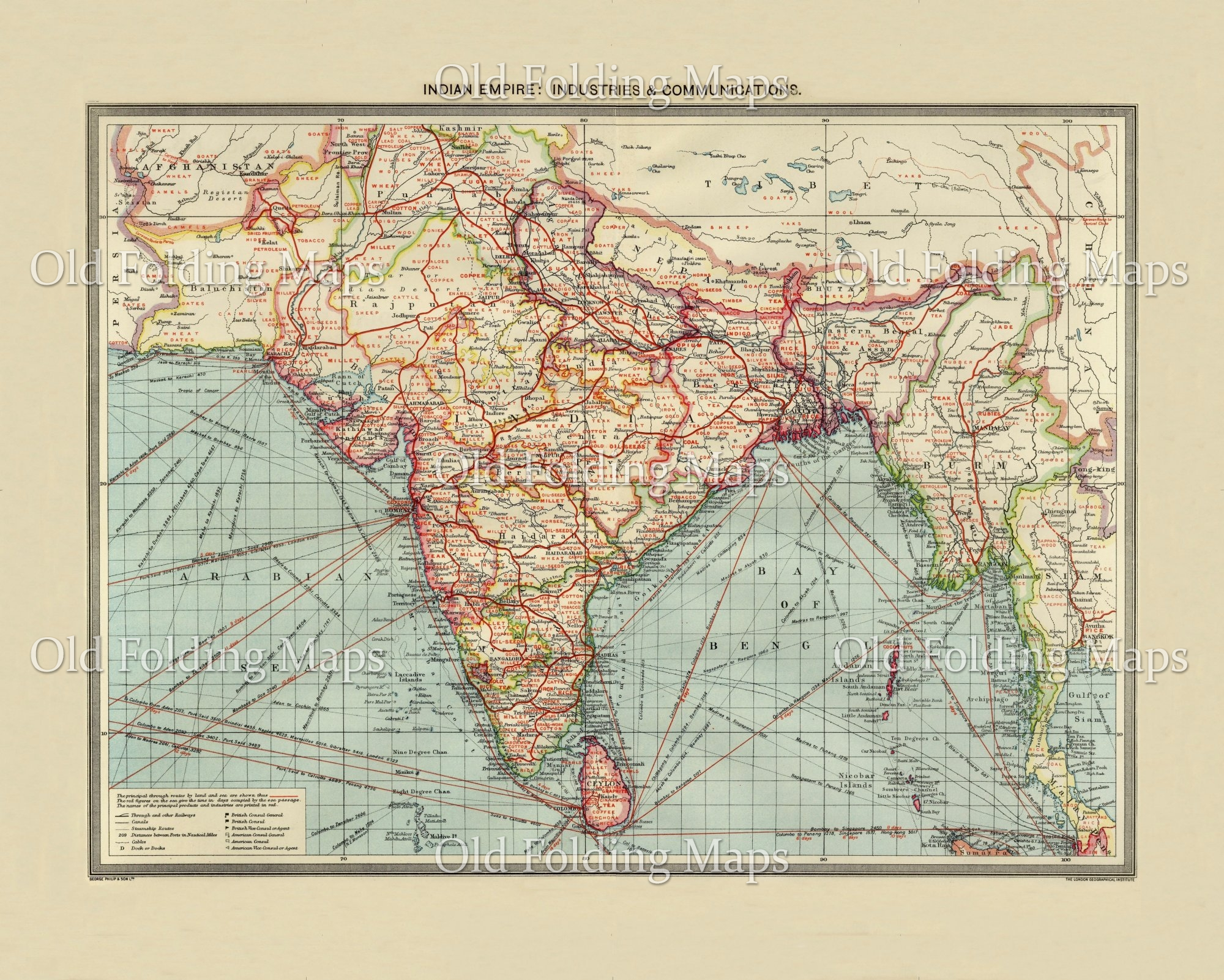 Old Map of India Industry & Communications circa 1900