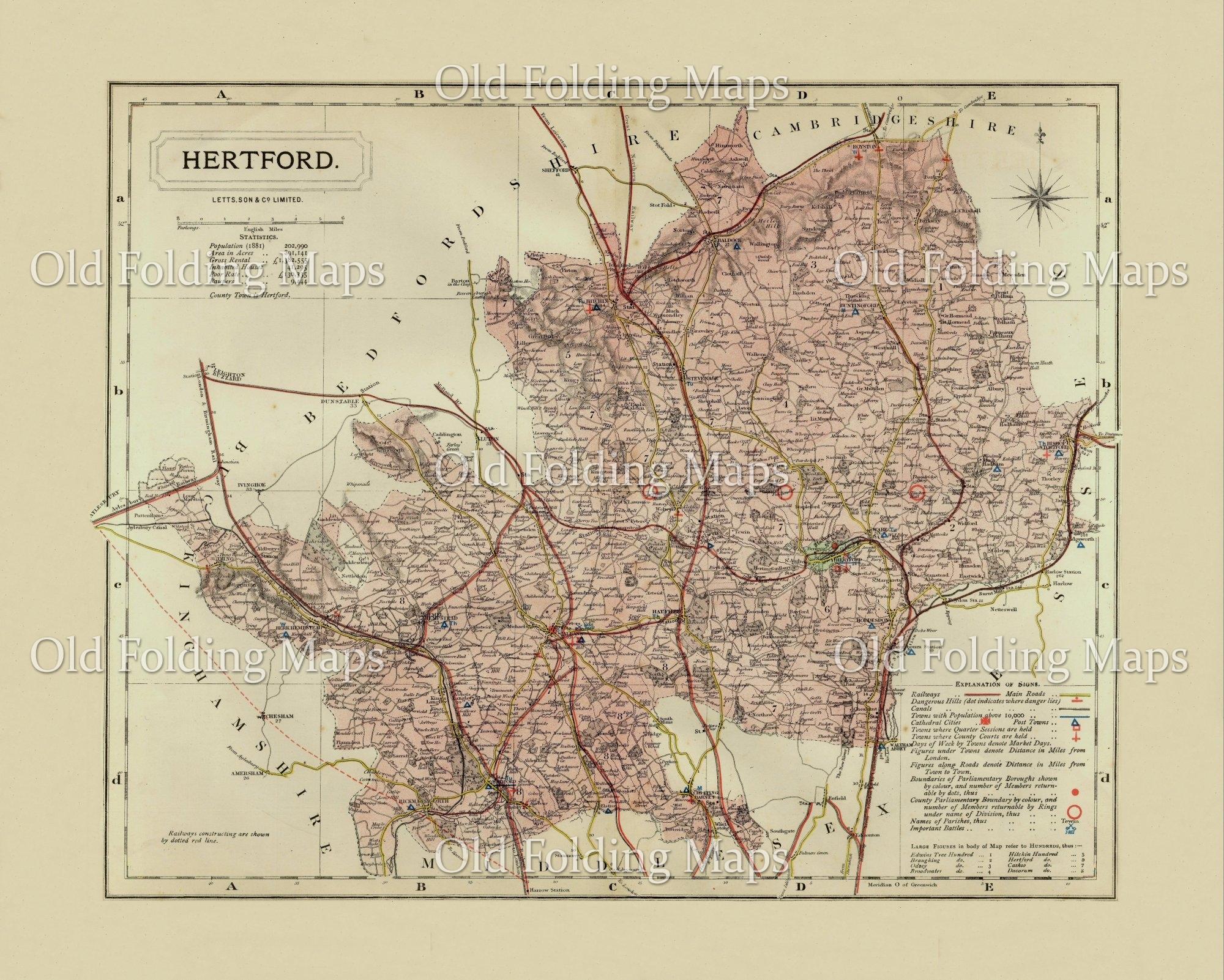 antique county map of hertfordshire circa 1884