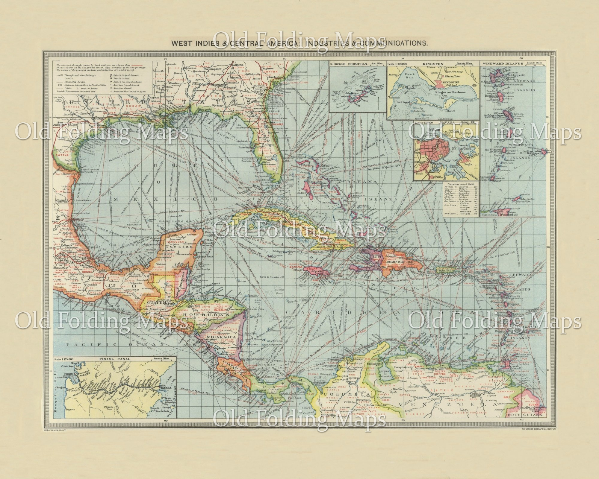 Old Map of West Indies & Central America Industry & Communications circa 1900