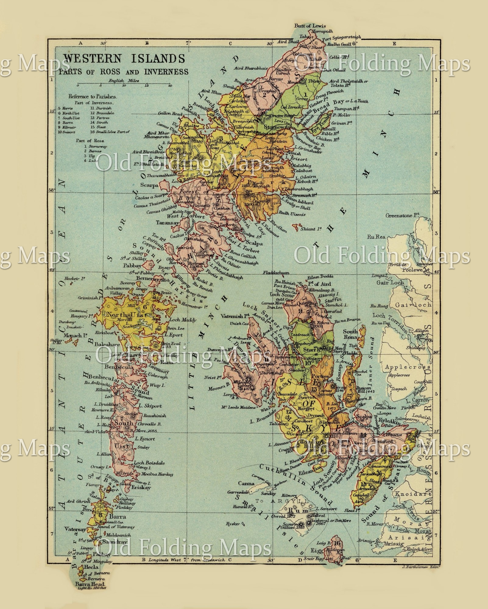 Antique County Map of the Western Islands, Scotland circa 1882