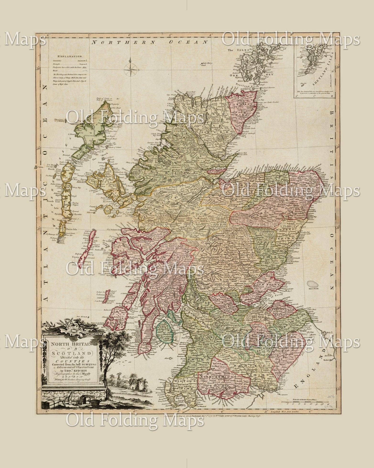 Old Map of Scotland circa 1788