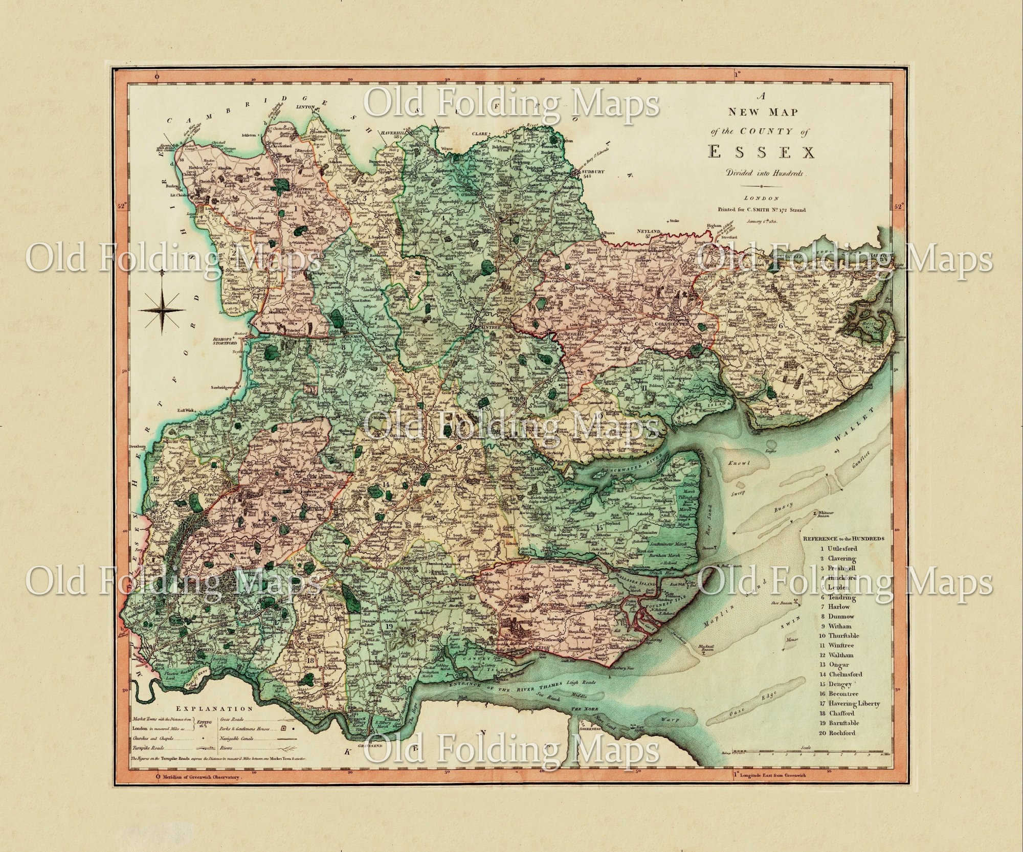 Map Of Uk 1800.Antique County Map Of Essex Circa 1800