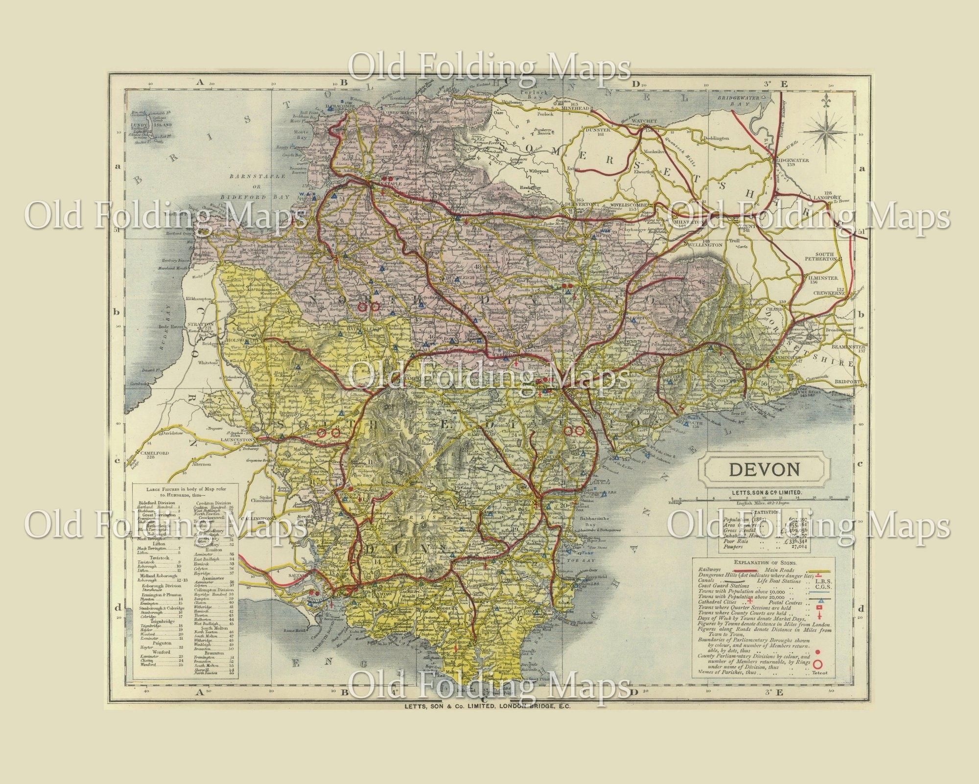 Map Of Uk Devon.Antique County Map Of Devon Circa 1884