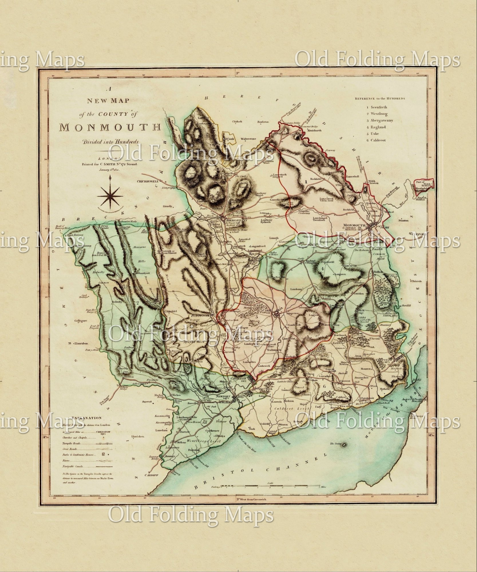 Antique County Map of Monmouthshire circa 1800